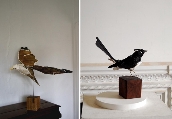 Ink, Water Colour, Sewn Water Colour Paper, Copper Rod, Timber Block. Right  U2013 Willie Wagtail. Ink, Archival Cotton Paper, Cotton Thread, Brass Rod, ...