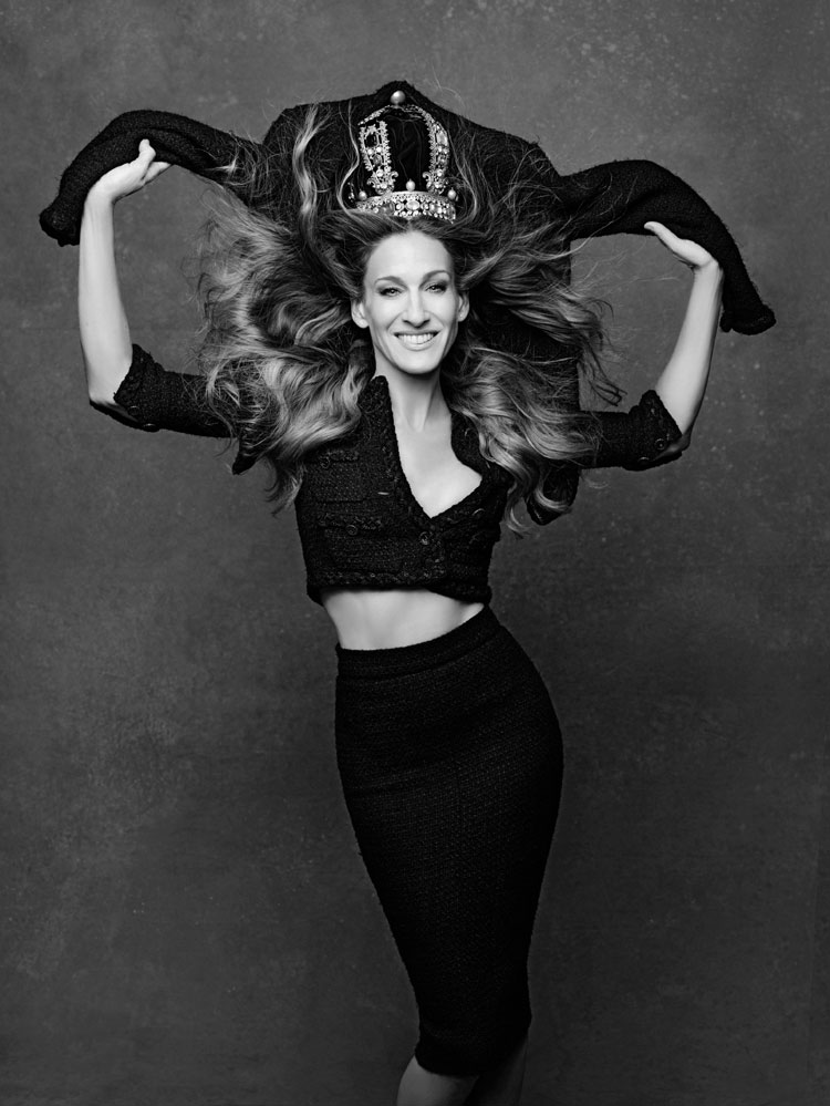 "CHANEL's ""The Little Black Jacket"". Karl Lagerfeld's portrait of Sarah Jessica Parker."