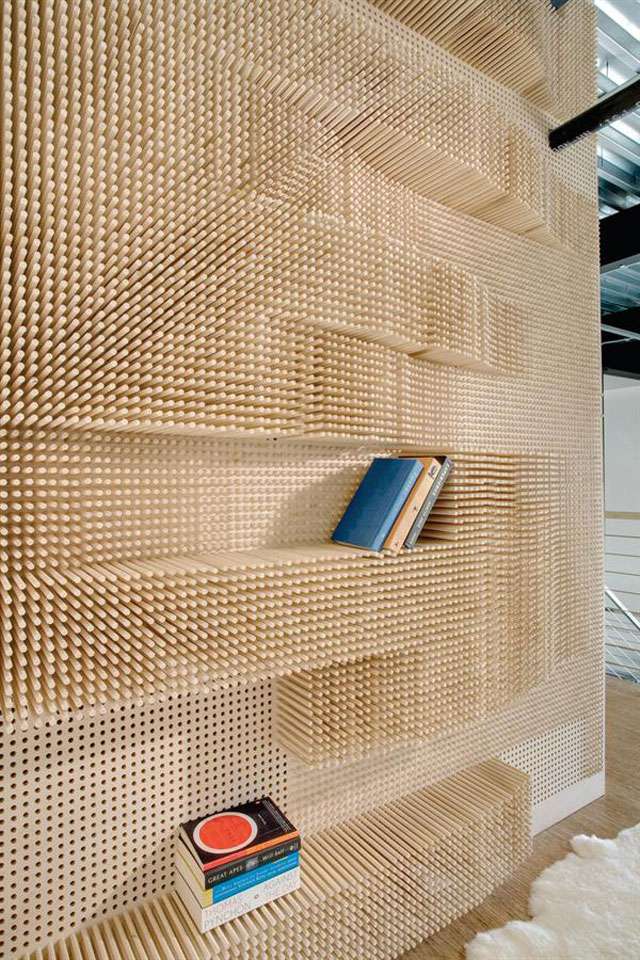 3D Walls Made From Timber Dowels and Paper Pipes.