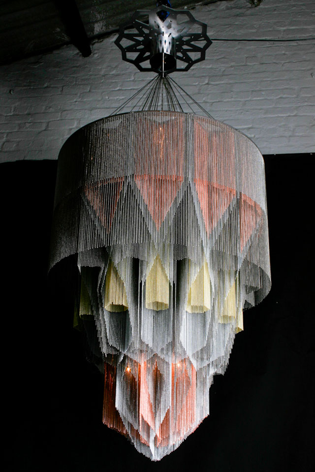 Mandala No1 - Stainless Steel & Ball-chain Chandelier by Willowlamp.