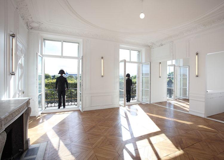 apartment, renovation, heritage, Paris, white, ceiling, glass, doors, parquet