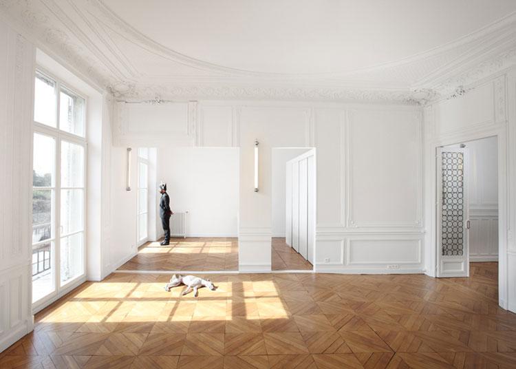 Apartment, renovation, heritage, interior design, Paris, wall panelling, white