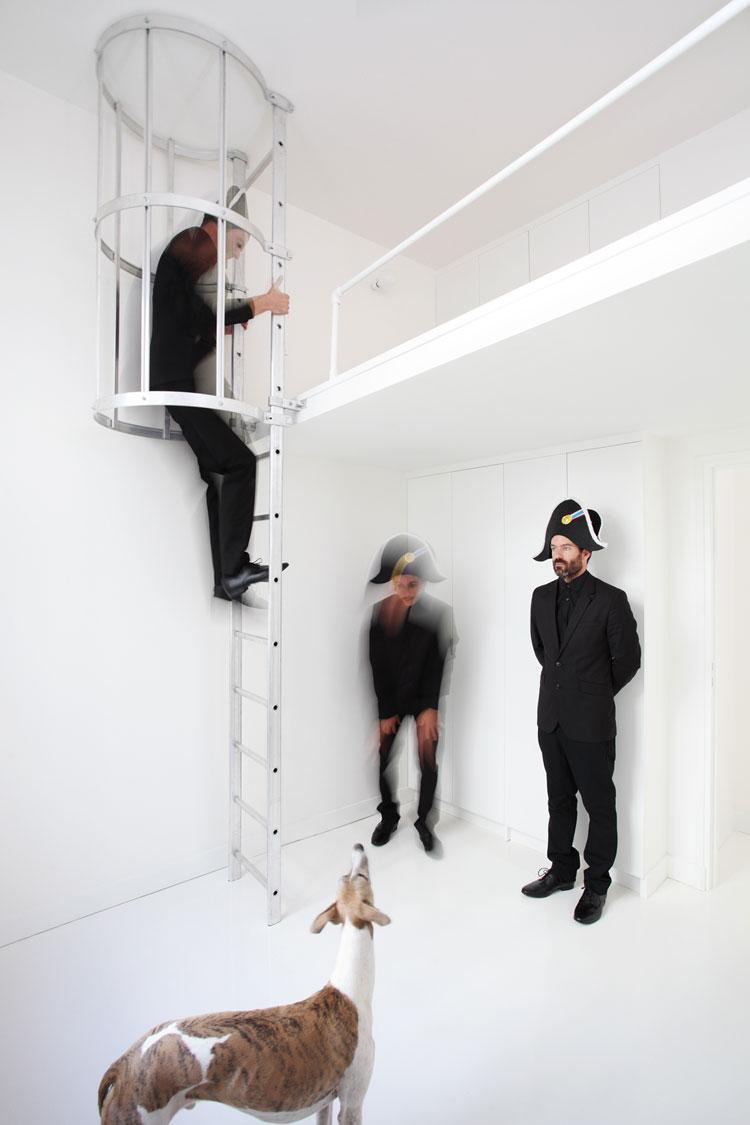 Apartment, interior design, white, stair
