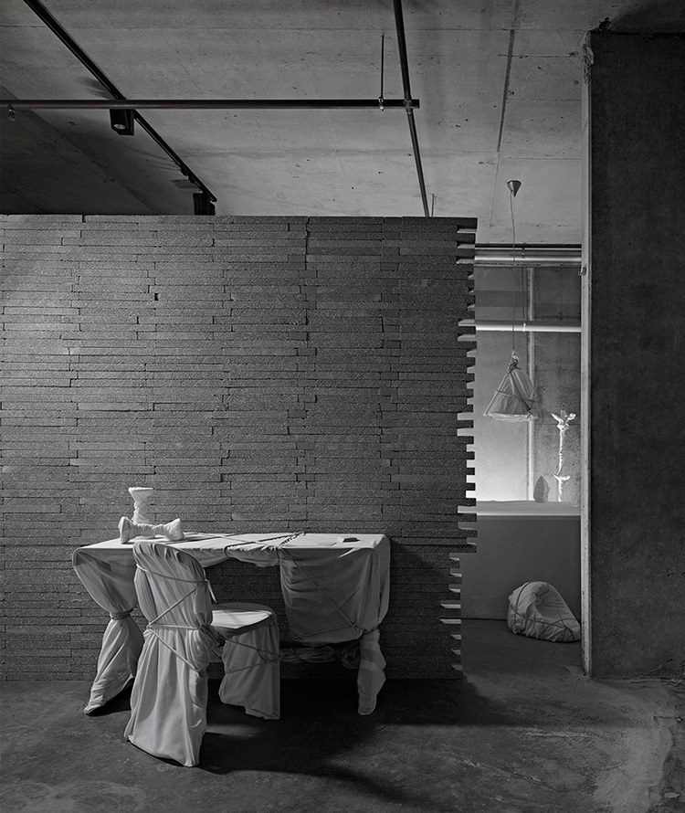 brick wall and wrapped furniture