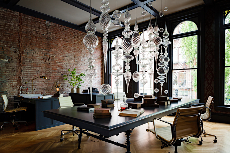 interior design heritage office renovation workspace exposed brick black chandelier - Interior Designer Usa
