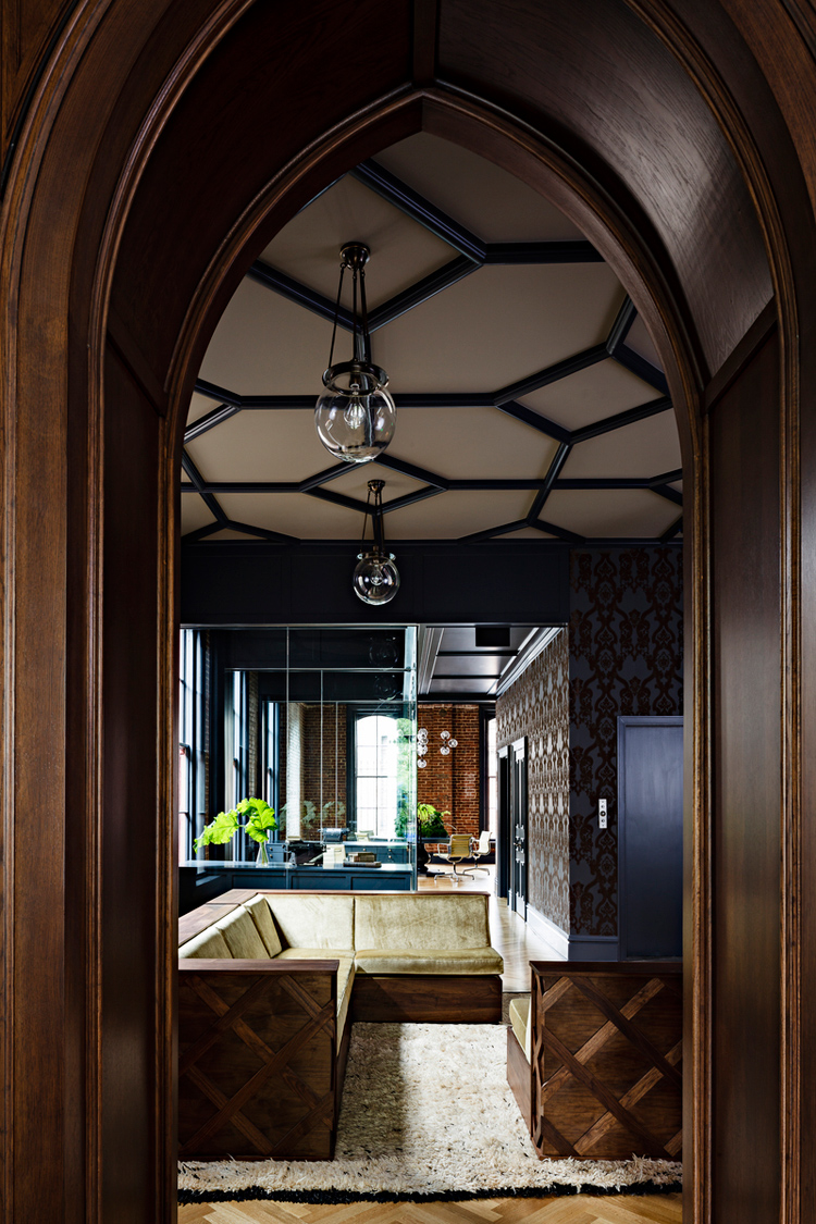 interior design, heritage, gothic, office renovation, ceiling, timber wall panelling, banquette