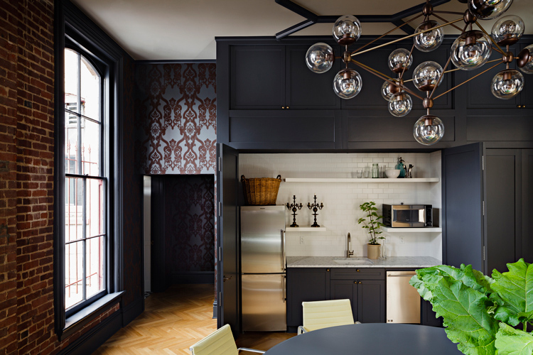 interior design, office renovation, black, joinery, kitchen, exposed brick, vintage, chandelier