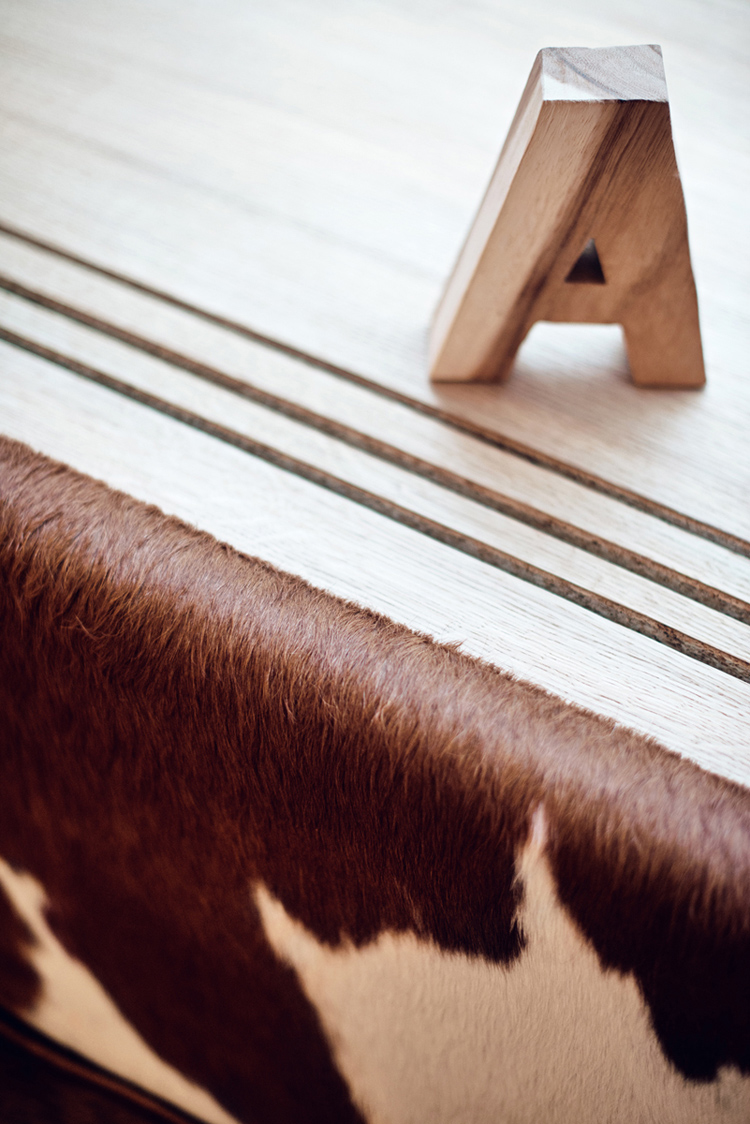details, cowhide upholstery