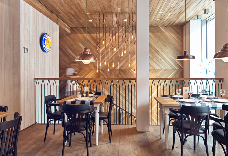 Althaus Restaurant, dining room, timber wall panelling, copper, pendant lights