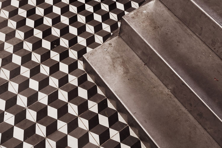 PNY black and white cement floor tiles and steel stair detail