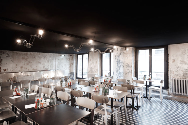 PNY restaurant cement floor tiles, distressed wall finish and large mirror wall