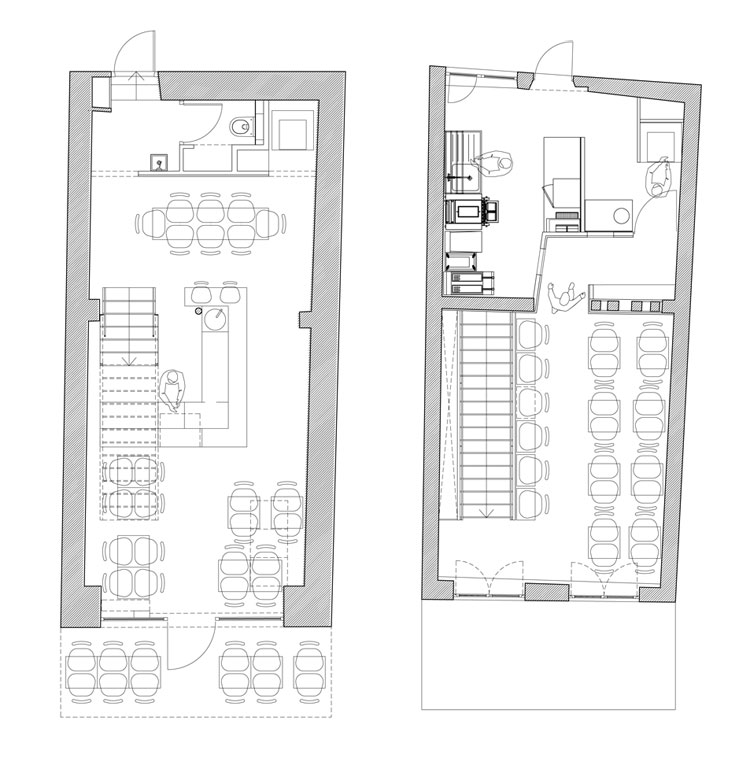 PNY restaurant drawing - floor plans for ground and first floor.