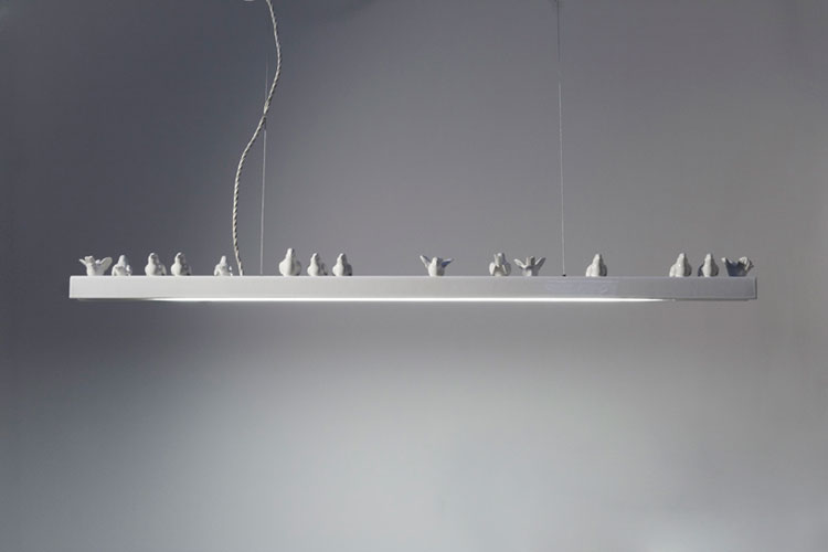 Bird on Wire ceramic light by Giopato and Coombes