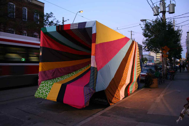 Chromatic Hi Five by Amanda Browder, textile installation, Brooklyn, New York