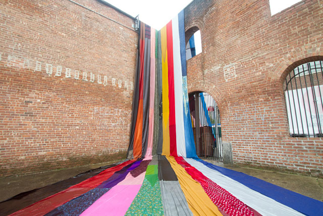 Hello Niagara by Amanda Browder, textile installation, colour, stripes