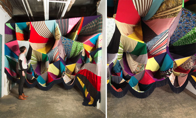 Prismatic Vortex by Amanda Browder, textile installation, patchwork pattern and colour