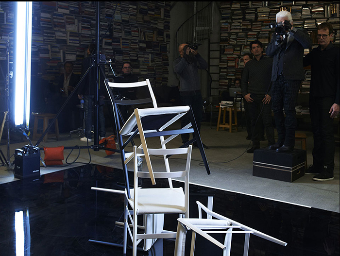 Karl Lagerfeld backstage in his studio.