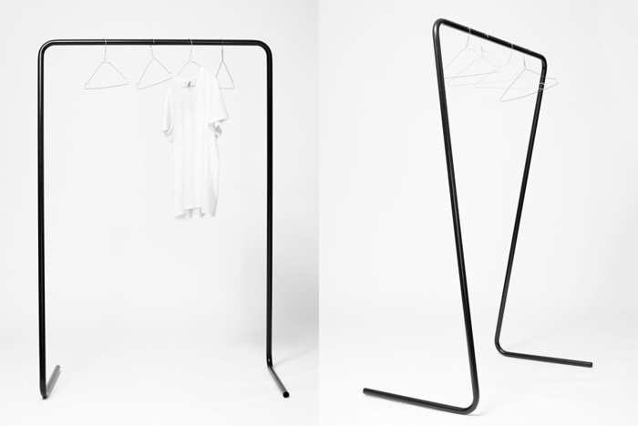 Oneline clothes rail by Klemens Schillinger | Yellowtrace.
