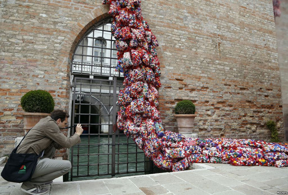 """The Garbage Patch State"" by Italian artist Maria Cristina Finucci at Venice Biennale 2013 