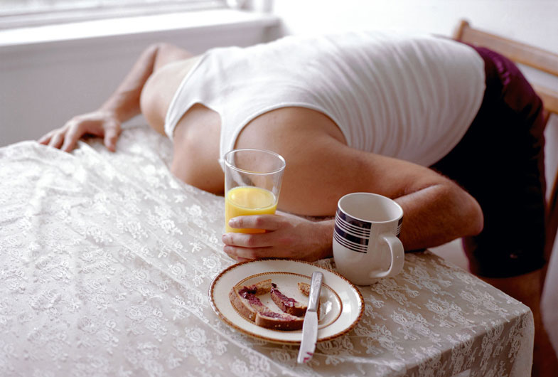 Head in Table with Breakfast, 2007, by L Materazzi | Yellowtrace.