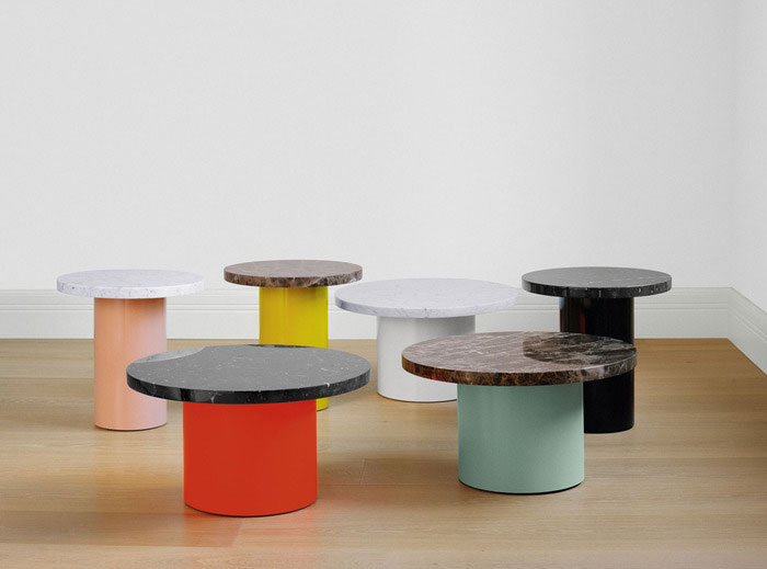 Enoki side tables with marble tops by Philipp Mainzer for e15 | Yellowtrace.
