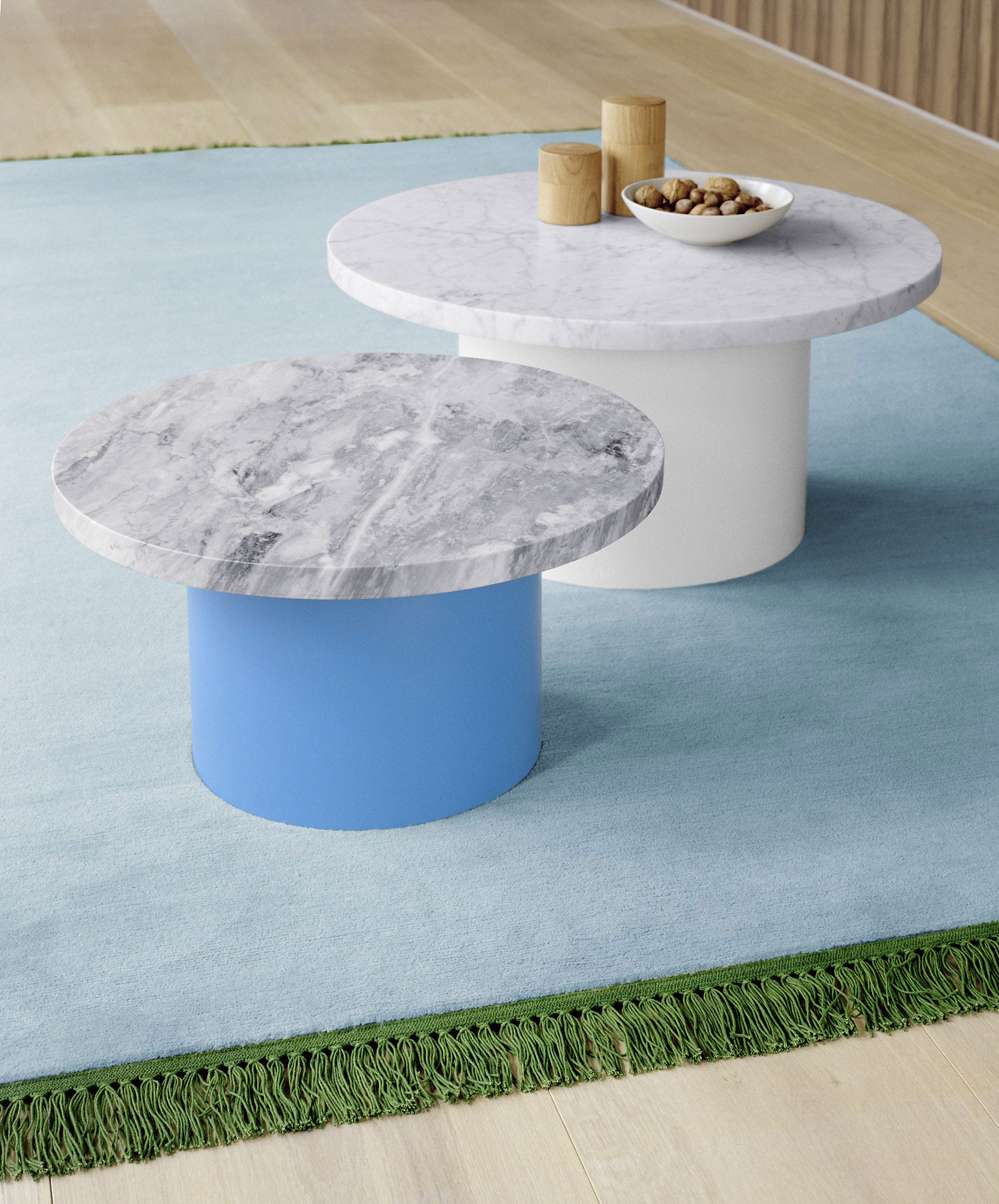 Enoki side tables with marble tops by Philipp Mainzer for e15   Yellowtrace.