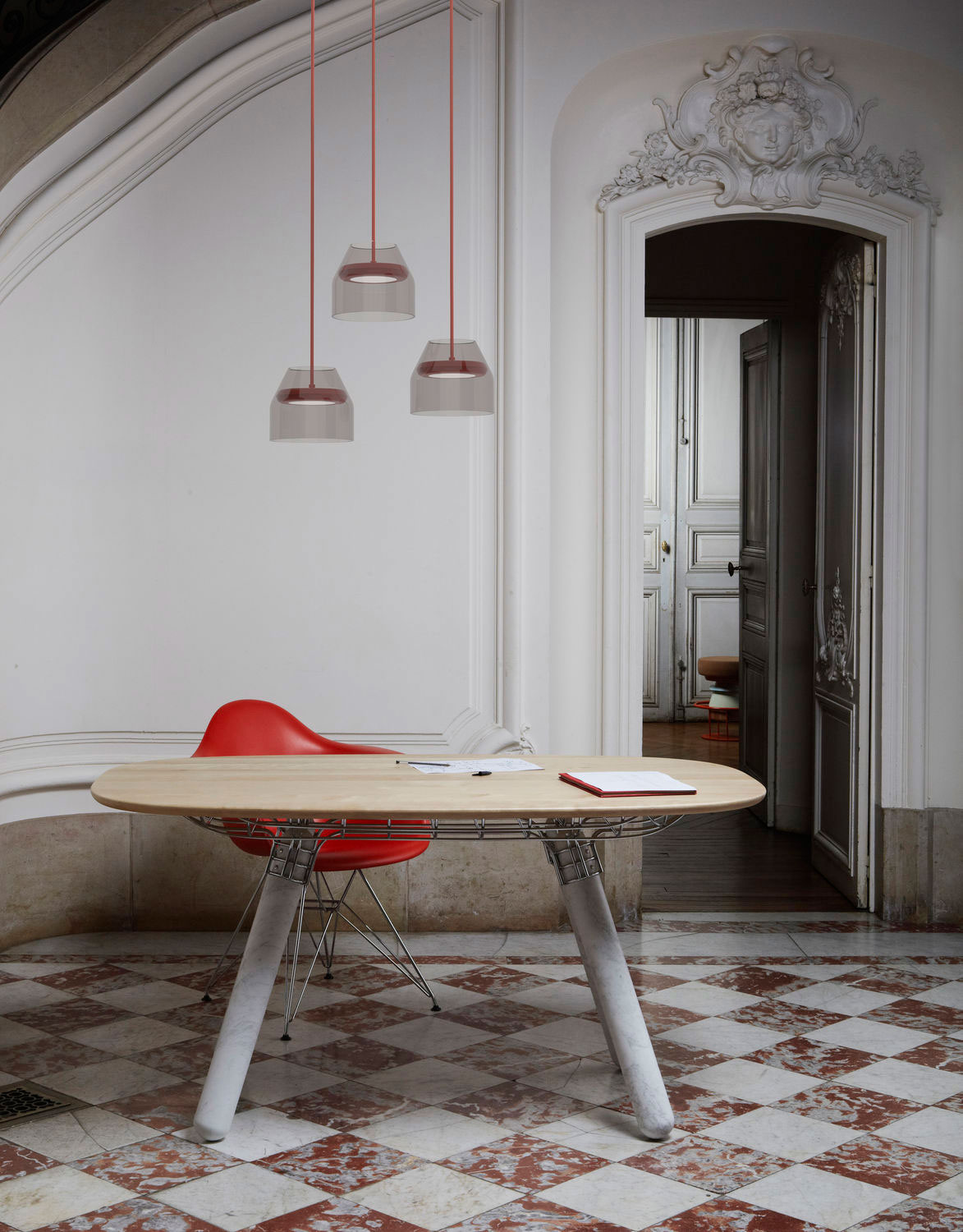 Magnum table by Pierre Favresse with Carrara marble legs from La Chance | Yellowtrace.