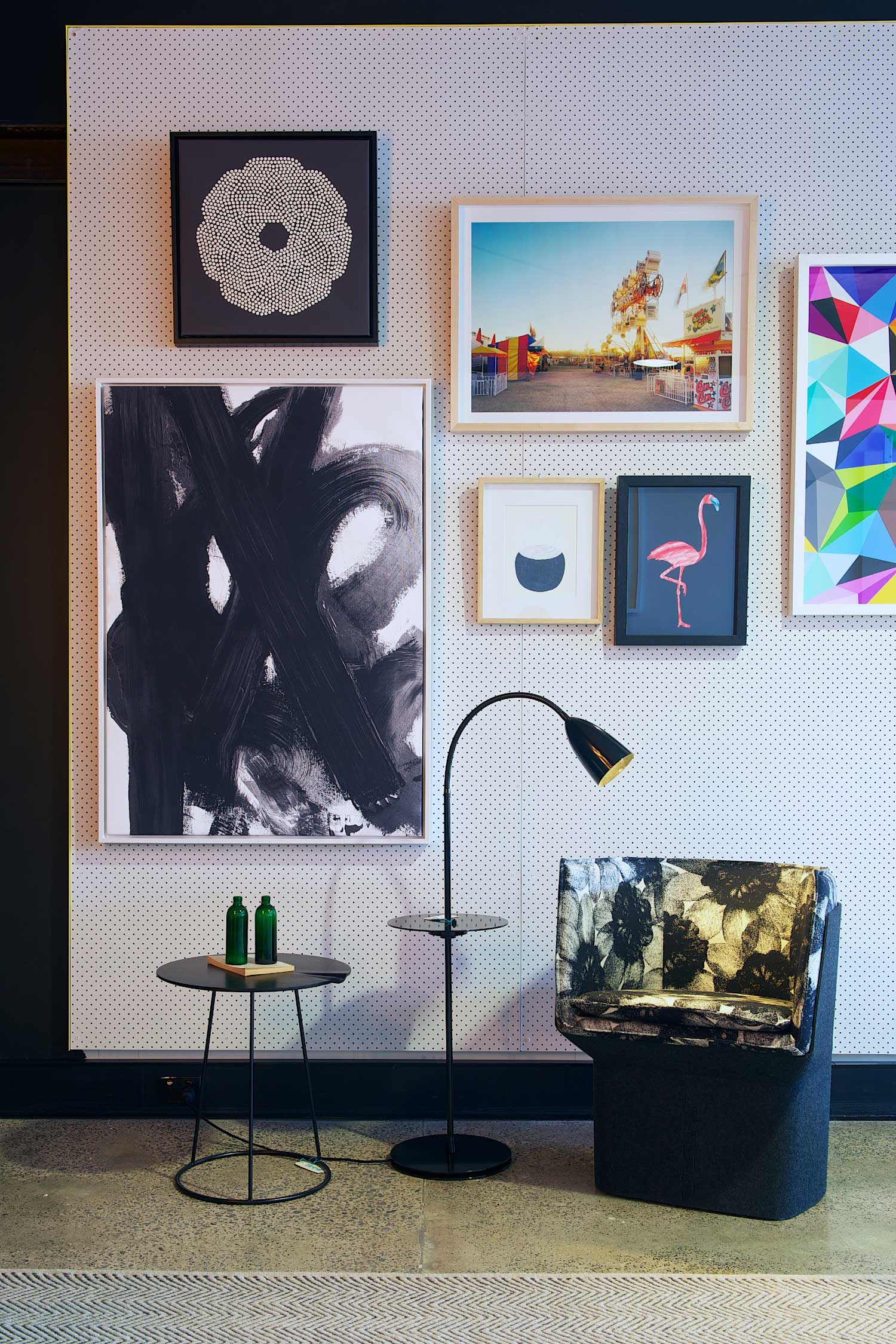 Fred International Sydney Showroom by Yellowtrace, Artwork by I Need Nice Things, Swedese Breeze side-table, Ruben Lighting Ark floor lamp, Swedese Glove chair.
