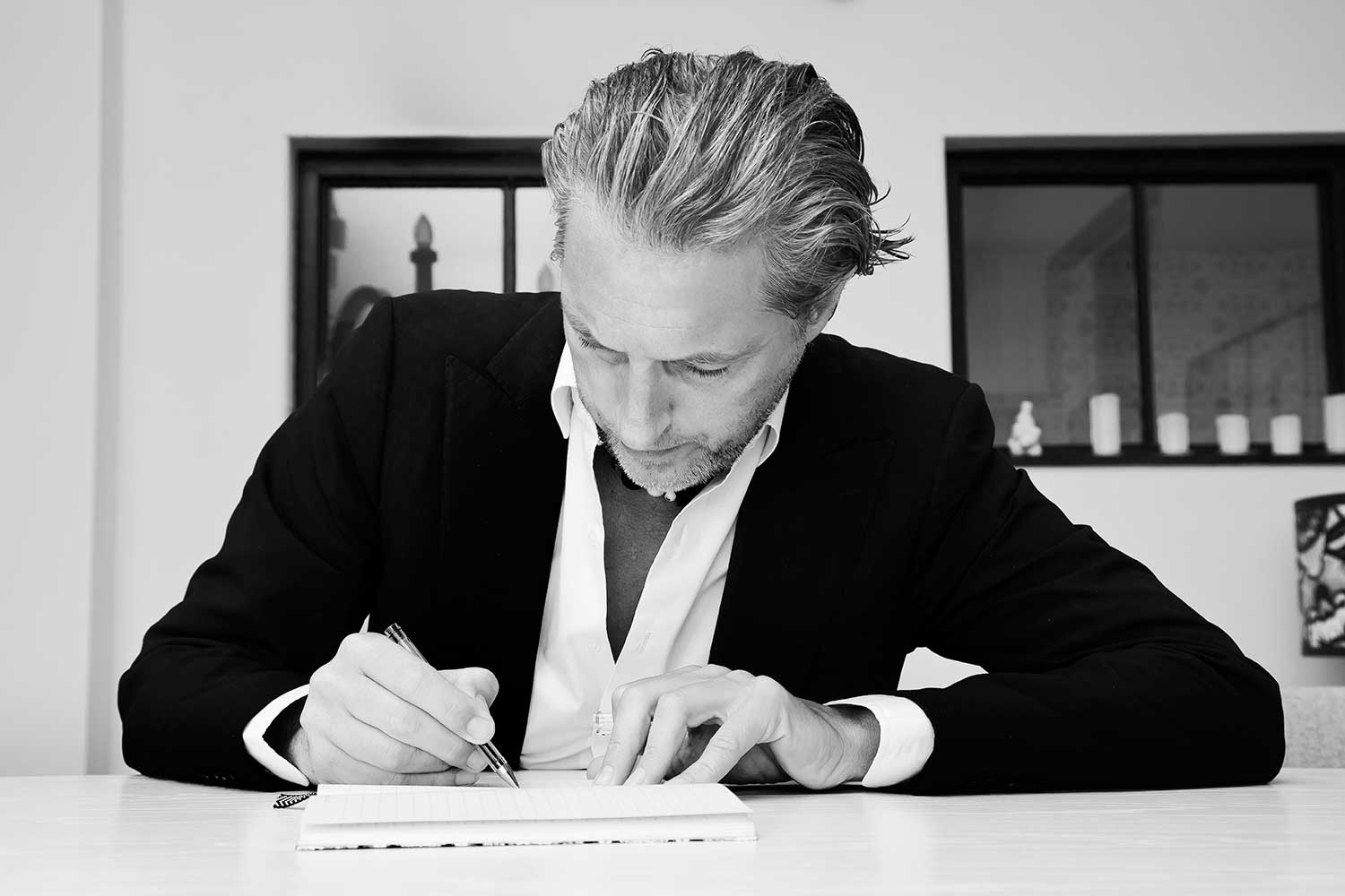 Marcel Wanders sketching in his studio | Yellowtrace.