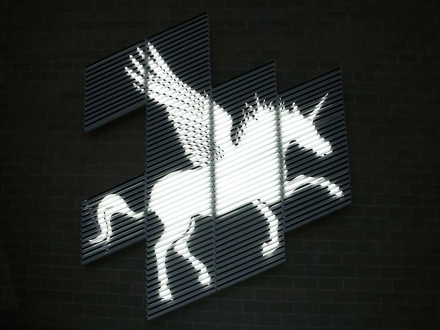 'The Striped Unicorn' light installation | Yellowtrace.