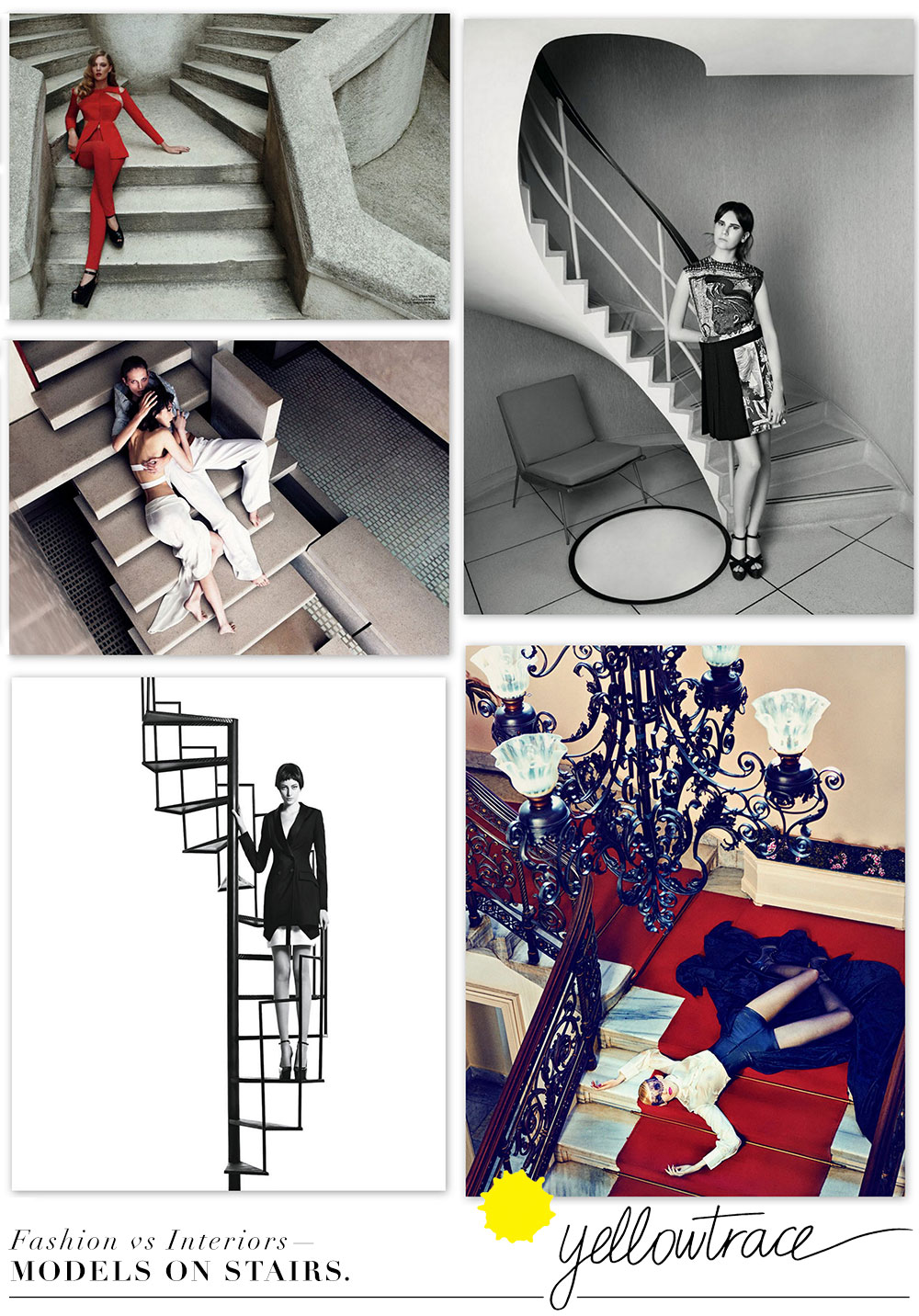 Fashion and Interior Design — Models on Stairs | Curated by Yellowtrace