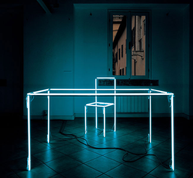 Neon Light Installation at Hotel Straf Milano | Yellowtrace