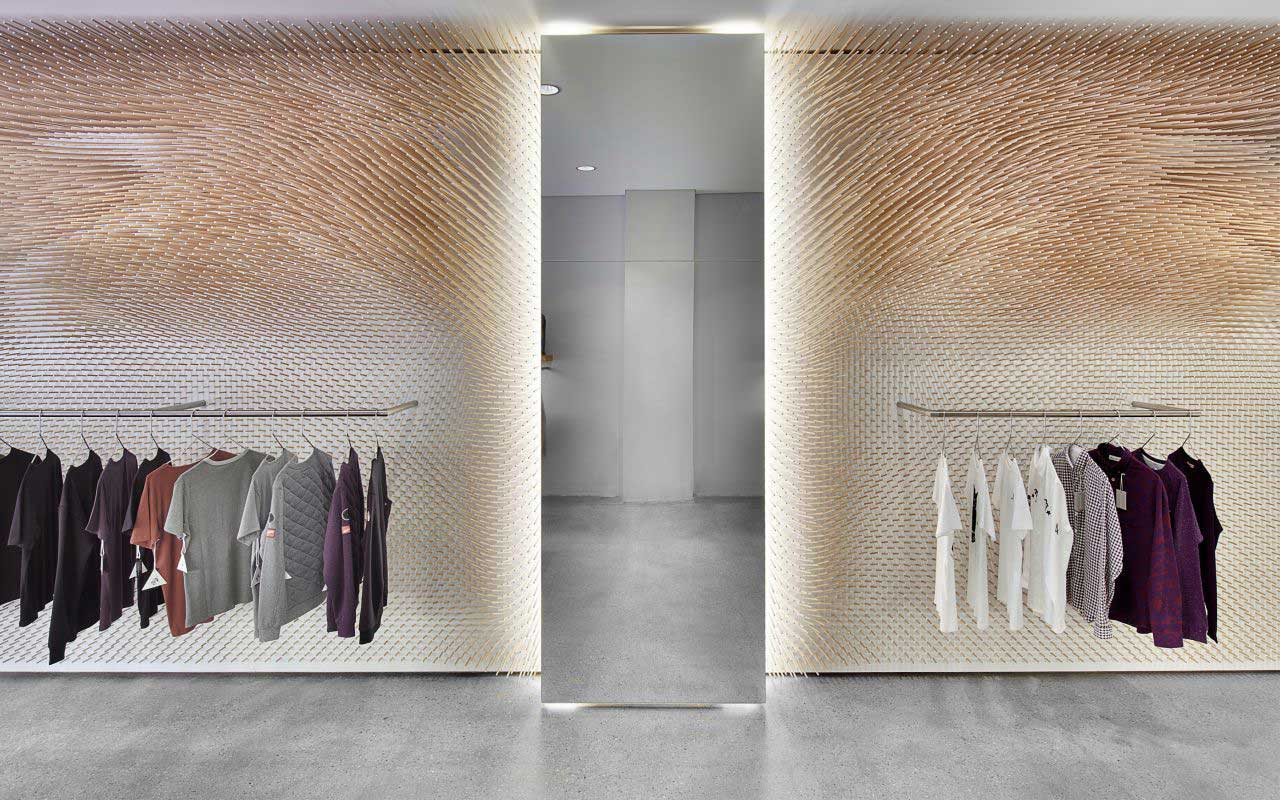 Beech Wood Sticks Adorning The Interior Of A Mrqt Boutique In Stuttgart