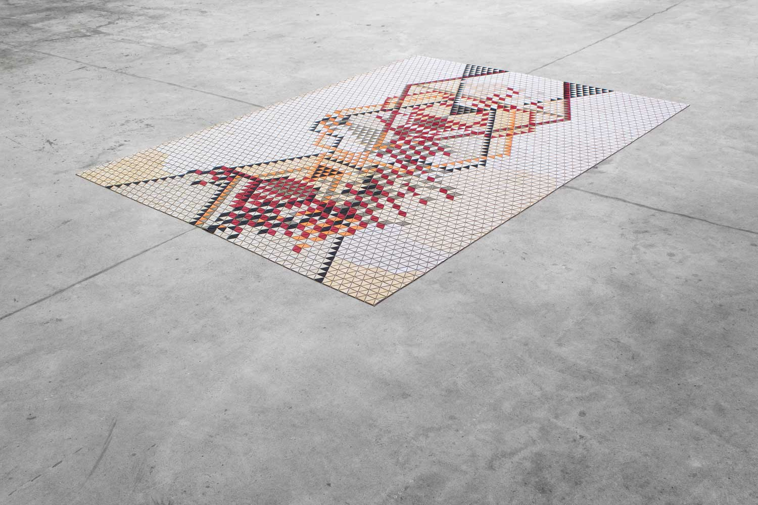 Red Wooden Textile by Elisa Strozyk at Design Days Dubai 2014 Yellowtrace