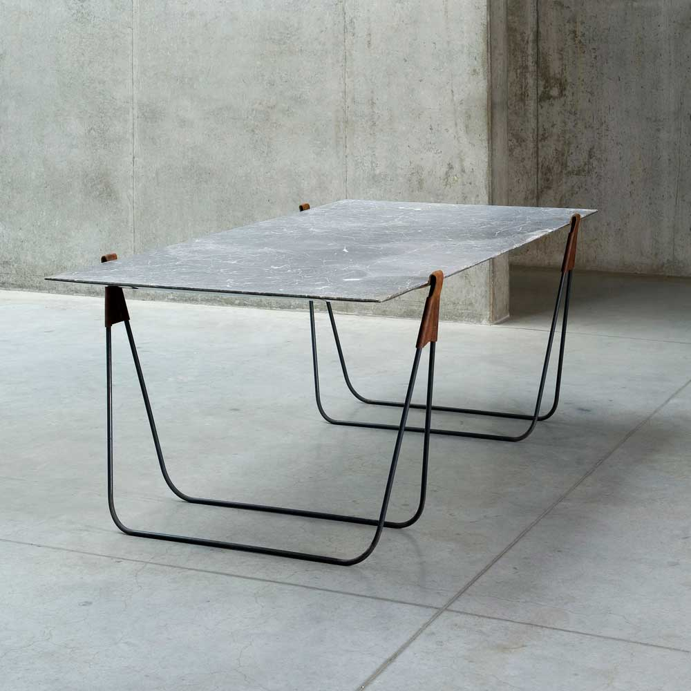 'In Vain' Marble Trestle Table by Ben Storms.