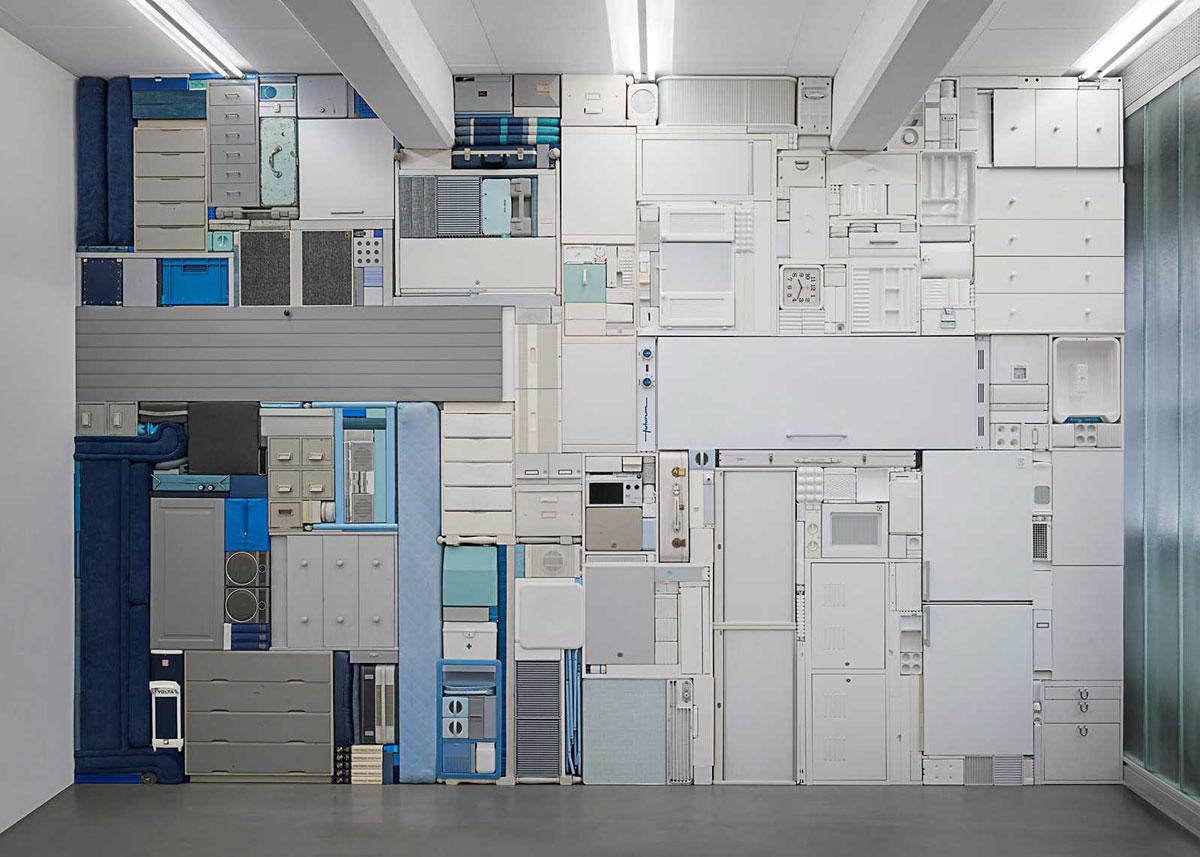 Michael Johansson blue and white tetris installation| Yellowtrace