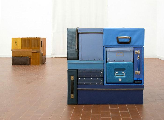 Michael Johansson blue vintage suitcases | Yellowtrace