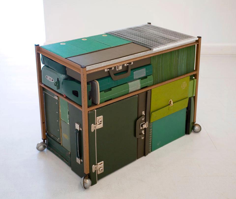 Michael Johansson green vintage suitcases | Yellowtrace