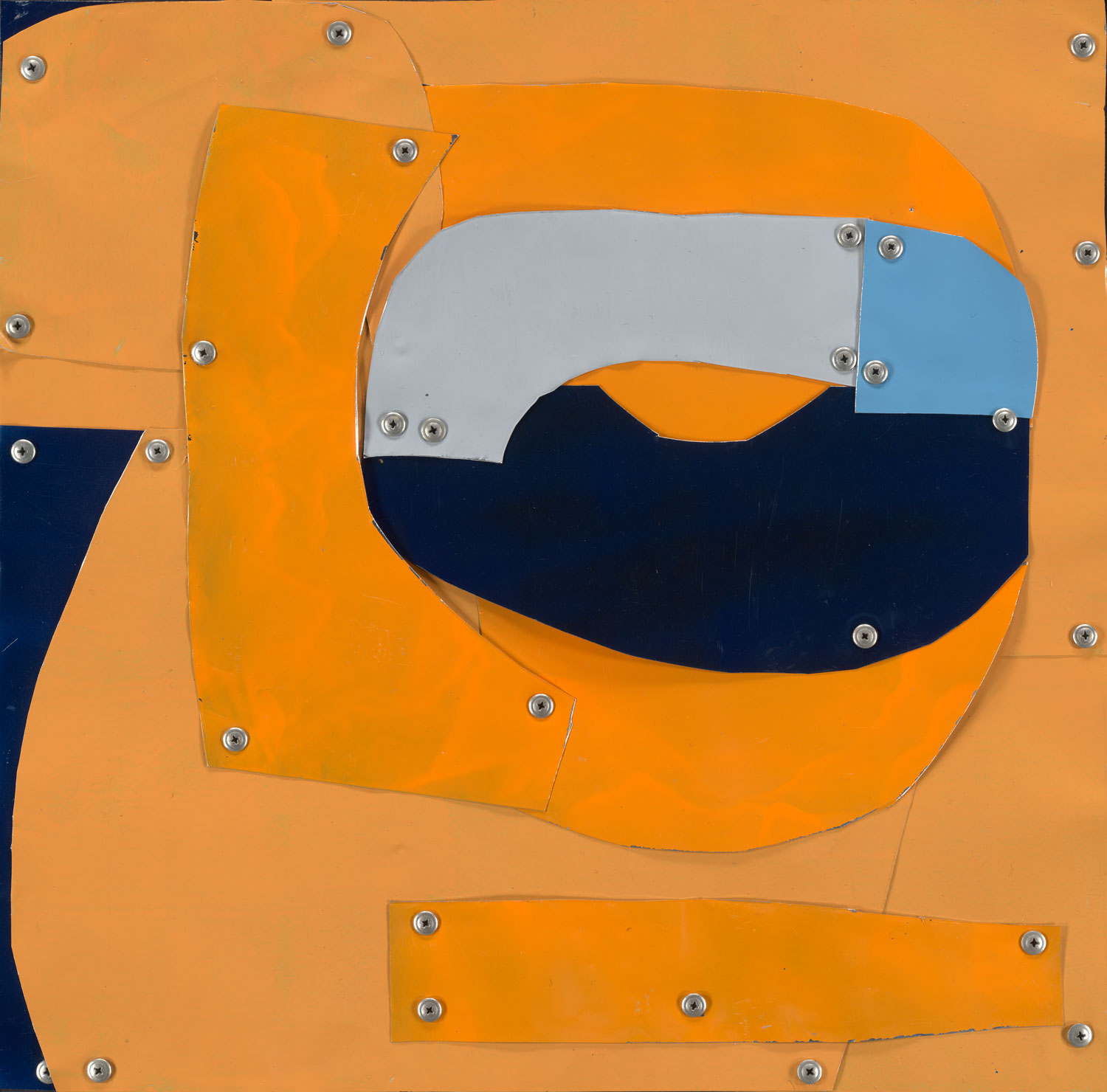 Blue on Orange Abstract by Sylvia McEwan | Yellowtrace