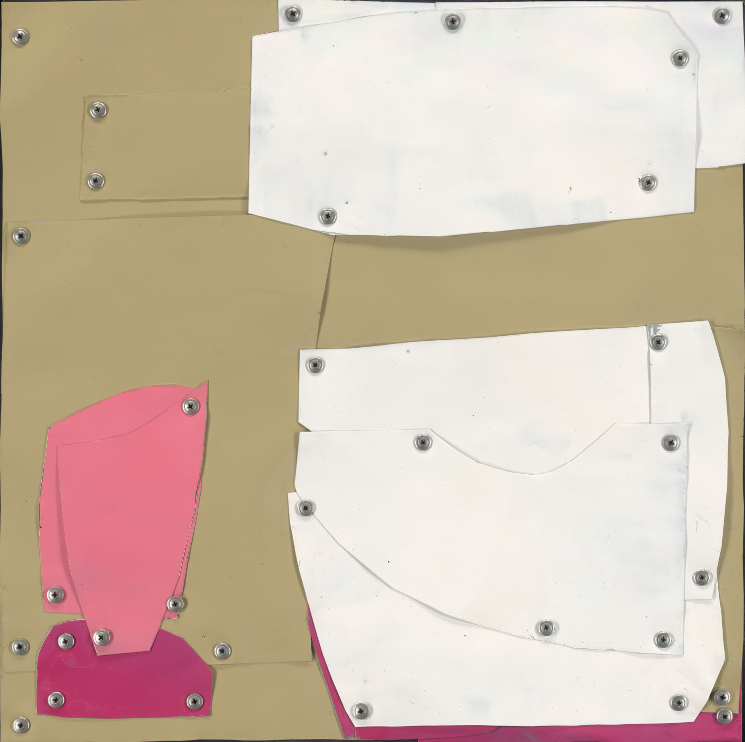 Pink on Green Abstract by Sylvia McEwan | Yellowtrace