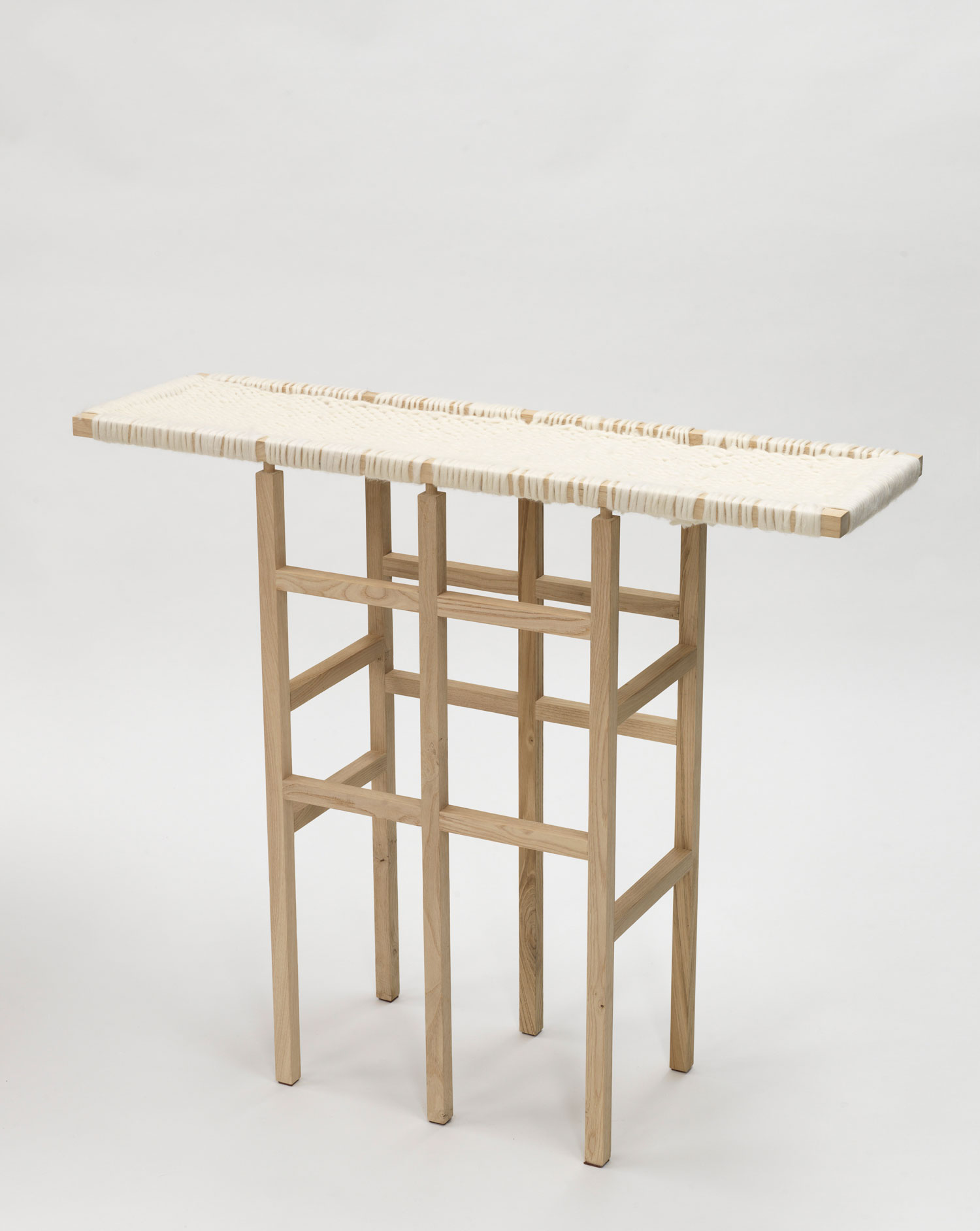 Wool and Wooden Console by Amaury Poudray, part of Objects in between Exhibition at IMM Cologne 2015 | Yellowtrace
