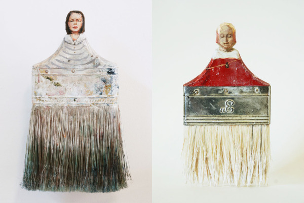 Sculptural Portraits From Paintbrush Handles by Rebecca Szeto | Yellowtrace