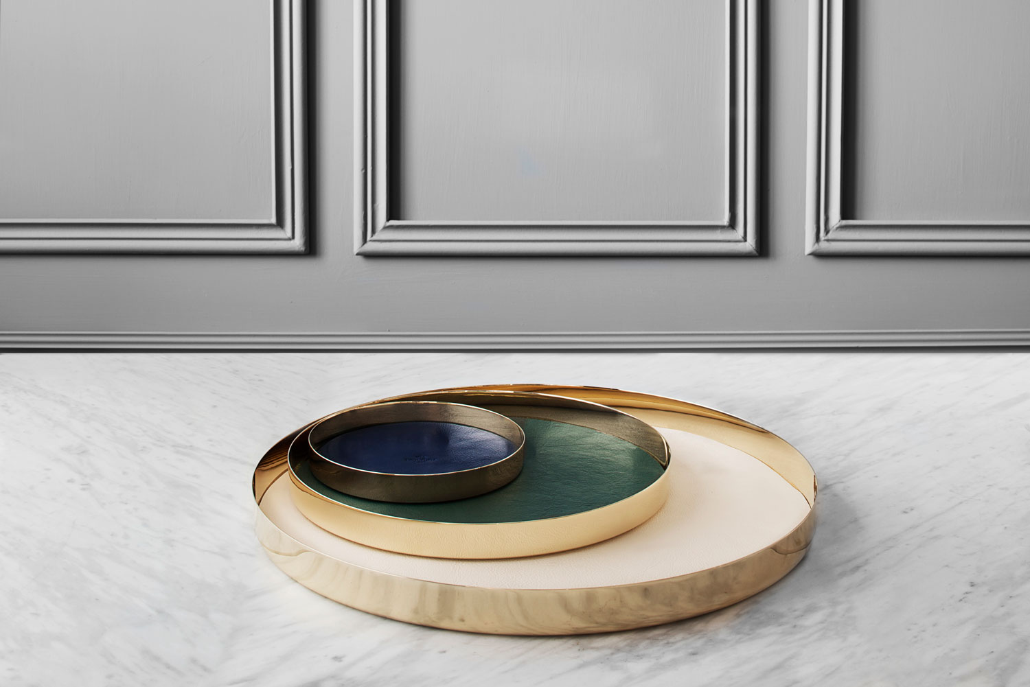 Leather Lined Brass Trays by GamFratesi for Skultuna at Maison & Objet 2015 | Yellowtrace