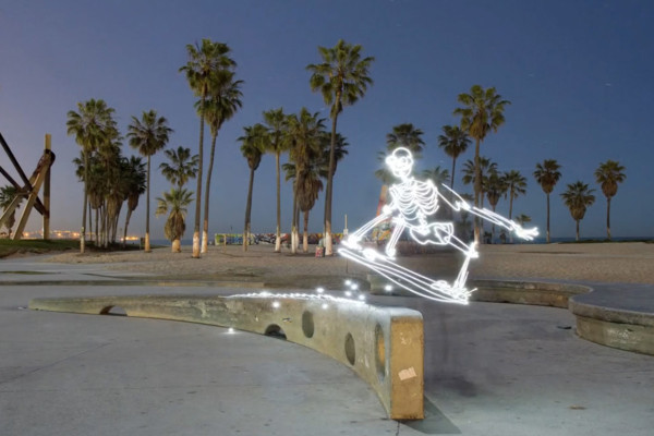 Light Painting Animation About a Skateboarding Skeleton | Yellowtrace