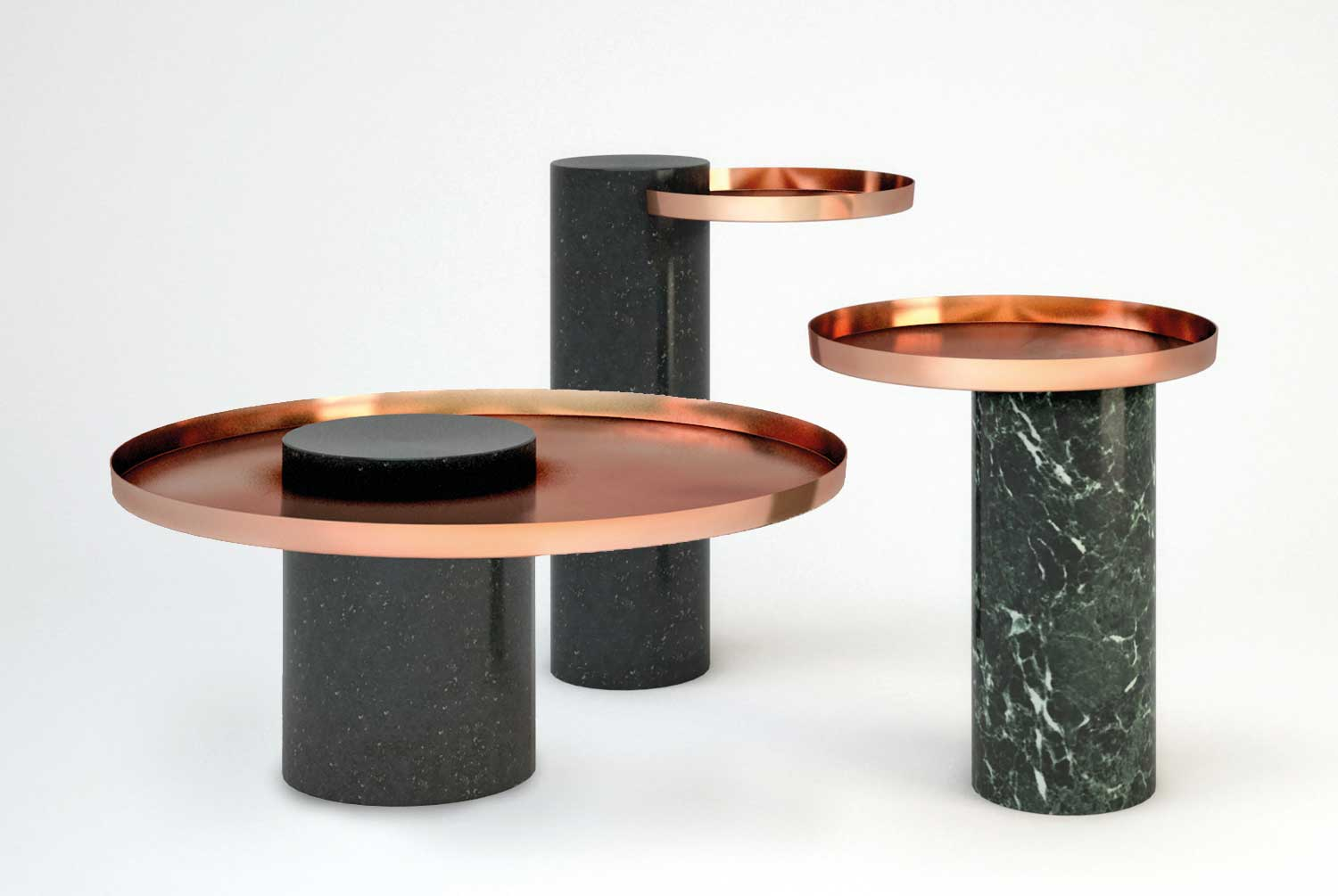 Sebastian Herkner Salute copper & marble side table for La Chance | Yellowtrace