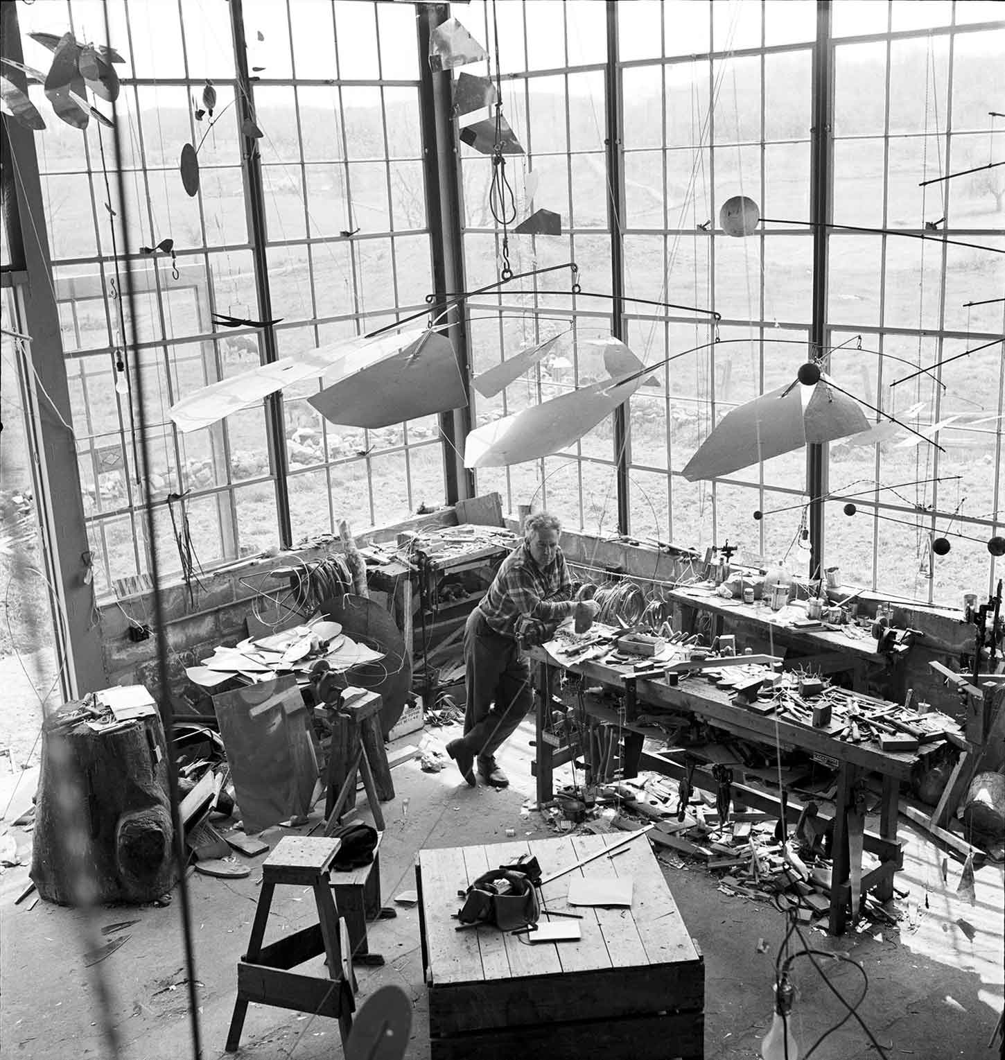 Alexander Calder in his Roxbury Connecticut Studio in 1941 | Yellowtrace