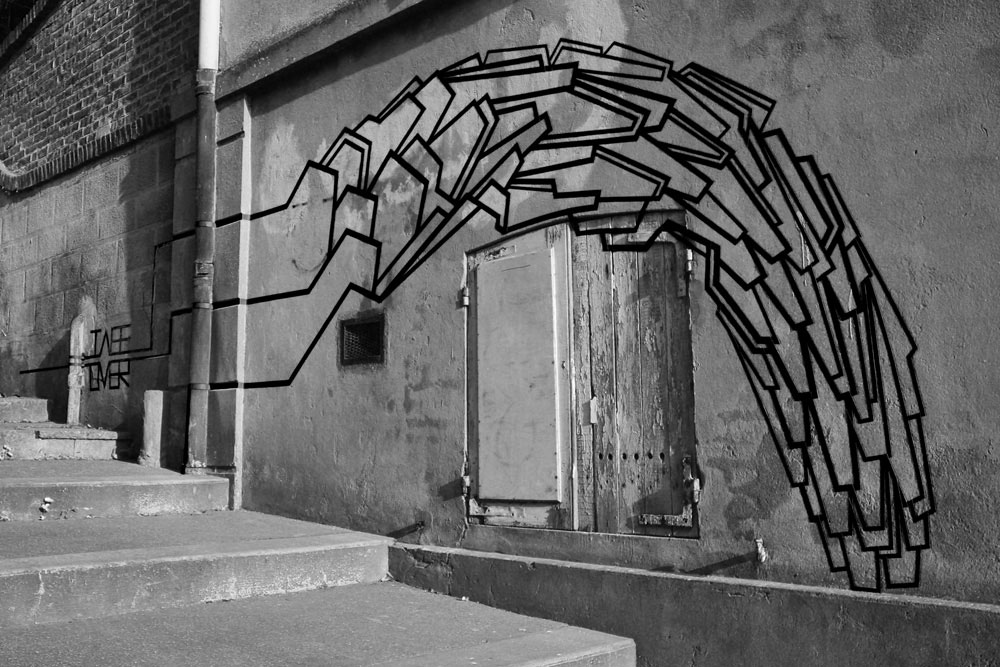 TAPE ART by TAPE OVER / Onetimetoomany in France, Wave on Wall | Yellowtrace