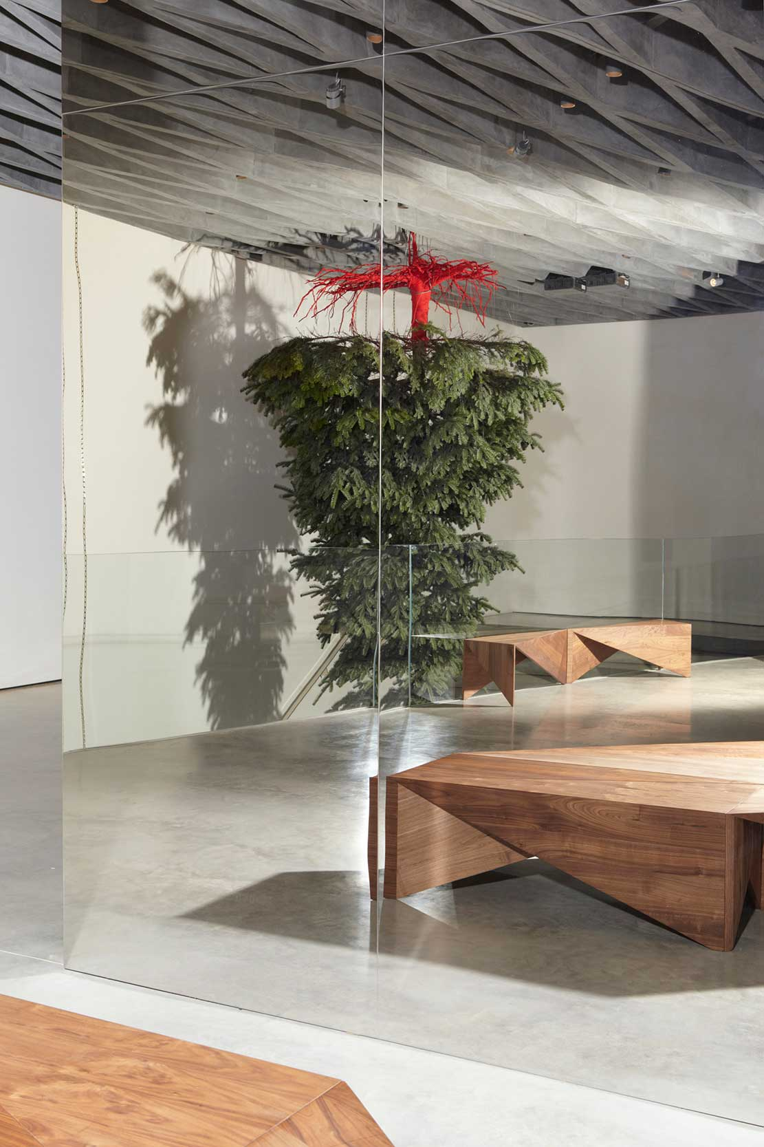 Shirazeh Houshiary Christmas Tree Installation at Victoria Beckham London Store | Yellowtrace