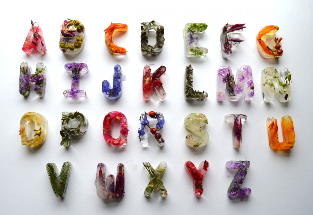 Beautiful Floral Patterns Submerged in Typographic Ice Cubes   Yellowtrace