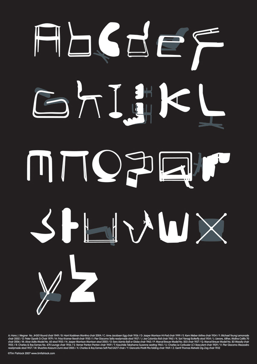 Chair Alphabet by Tim Fishlock   Yellowtrace